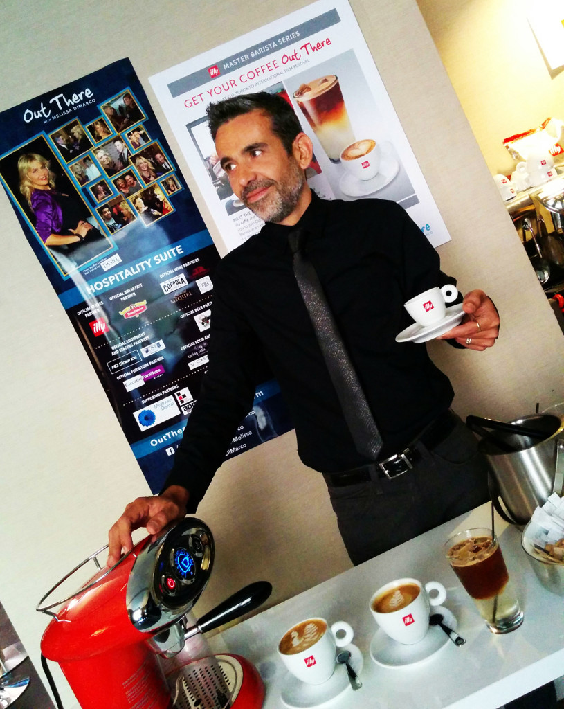Coffee lover and famous barista Giorgio Milos. Professional photographer in Toronto shooting events
