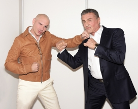 pitbull and sylvester stallone in backstage photos where they meet for the first time at a big toronto event