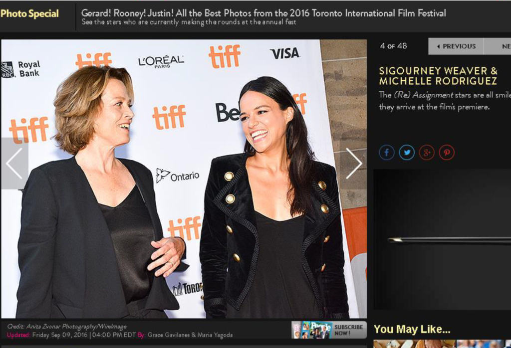 Sigourney Weaver and Michelle Rodriguez at a red carpet premiere of Rage